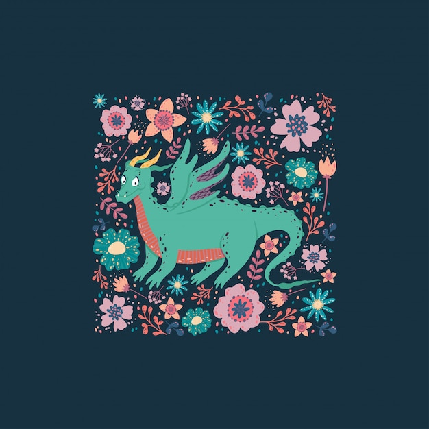 Dragon with the flowers card design.childish background with a dragon in a square frame. Premium Vector