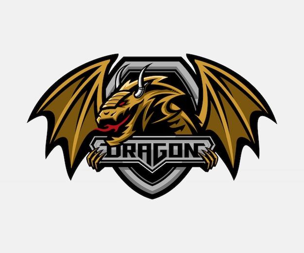 ドラゴンシールドバッジのロゴのテンプレート Premiumベクター