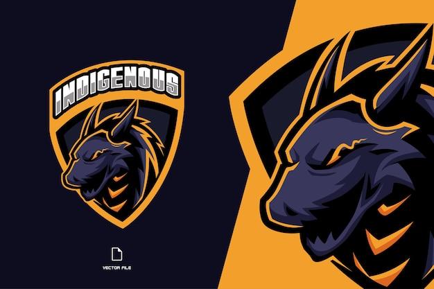 スポーツチームの盾のマスコットゲームのeスポーツのロゴとドラゴン Premiumベクター