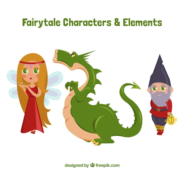 Dragon with story characters Free Vector