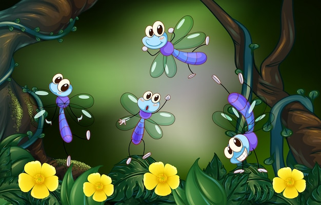 Dragonflies flying in the deep forest Free Vector