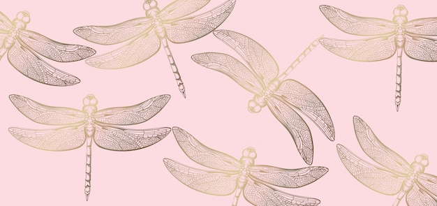 Dragonfly golden pattern line art. texture shiny decors Premium Vector