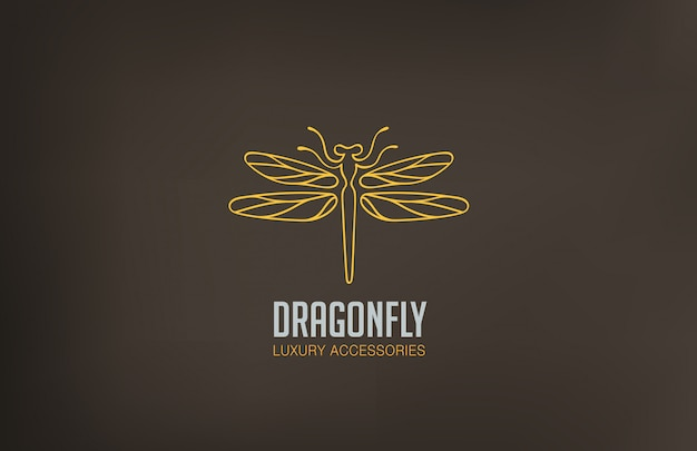 Dragonfly logo linear style icon. Free Vector