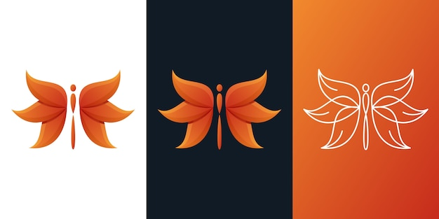 Логотип стрекозы Premium векторы