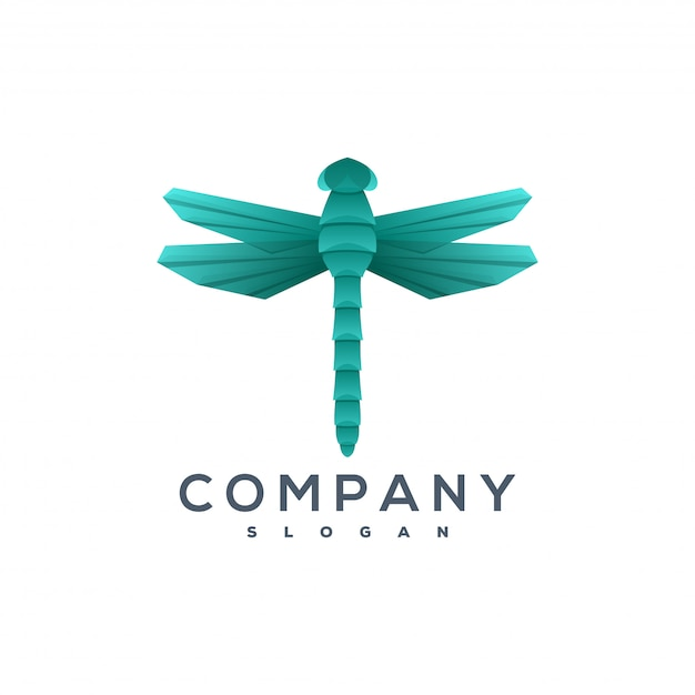 Dragonfly origami style logo Premium Vector