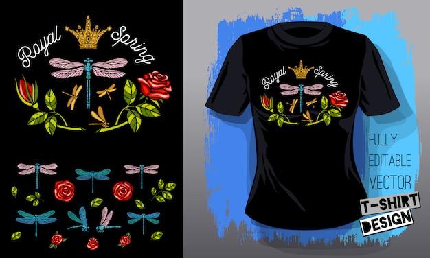 Стрекоза, розы, цветы, листья золотая вышивка королева корона текстильные ткани футболка дизайн надписи золотые крылья насекомое роскошь мода вышитые стиль ручной обращается Premium векторы