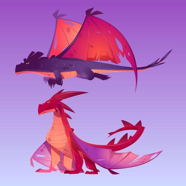 ドラゴンの漫画のキャラクター 無料ベクター