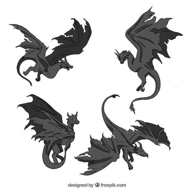 Коллекция драконов в черном цвете Бесплатные векторы