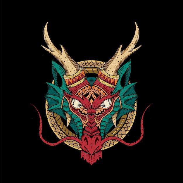 Гравюра на голове дракона. традиционная концепция. древний китай и япония. мифология и культура. тату стиль Premium векторы