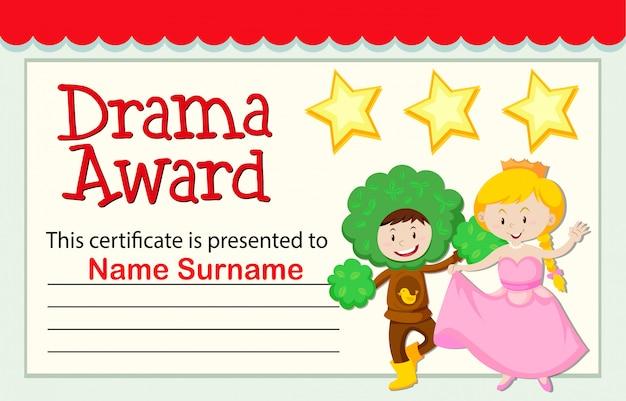 A drama award certificate Free Vector