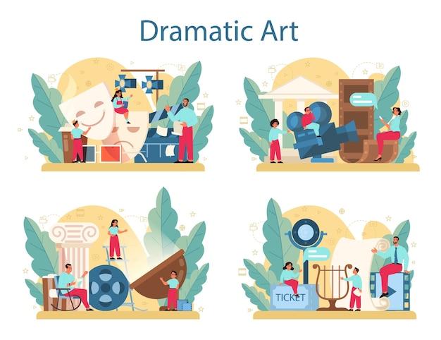 ドラマクラブコンセプトセット。子供の創造的な主題、学校の遊び。舞台や演劇の演技を勉強している子供。 Premiumベクター
