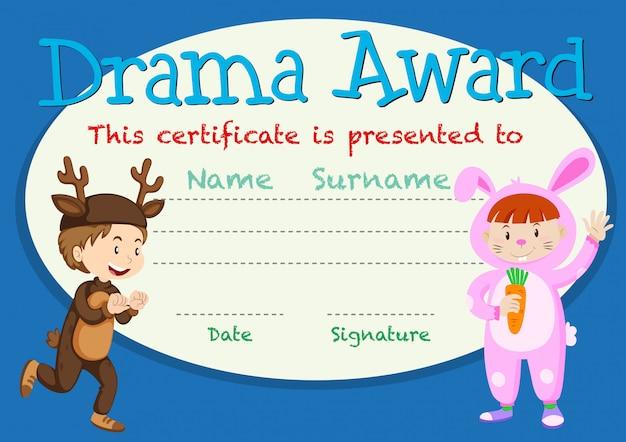 Drama student award template Free Vector