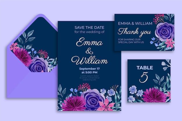 Dramatic botanical wedding stationery Free Vector