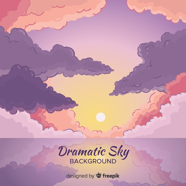 Dramatic sky background Free Vector