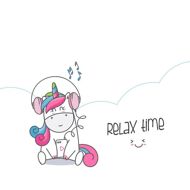Draw Animal Cute Unicorn Cartoon Vector Premium Download