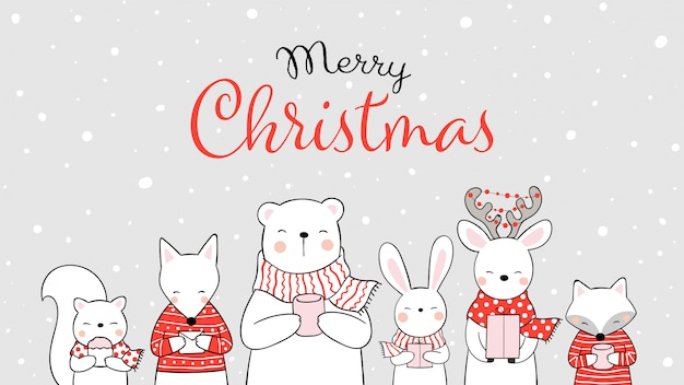 Draw animal in snow for christmas day Premium Vector