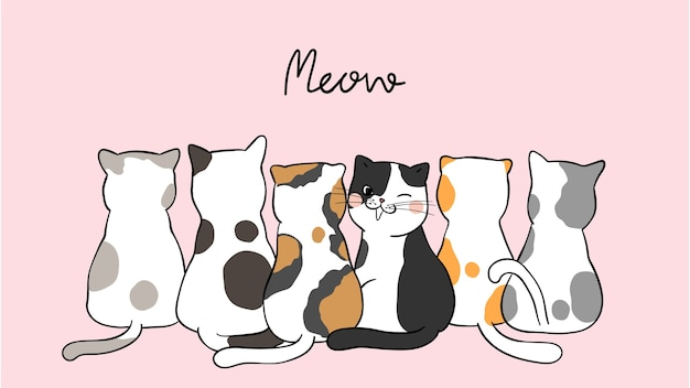 Draw banner background cute cats on pink pastel Premium Vector