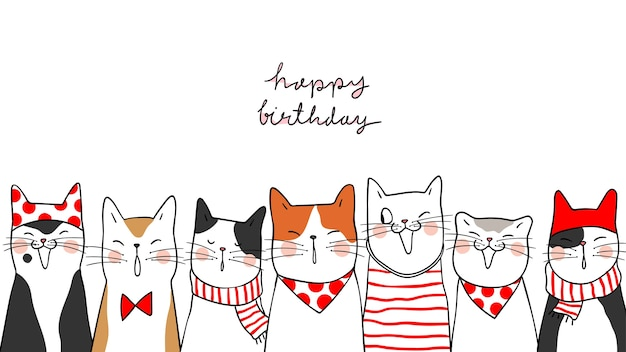 Draw Banner Background Portrait Cute Cats For Happy Birthday Premium Vector
