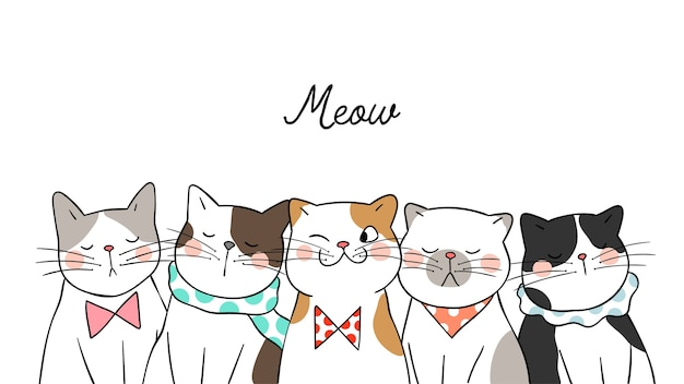 Draw banner background portrait cute cats on white Premium Vector
