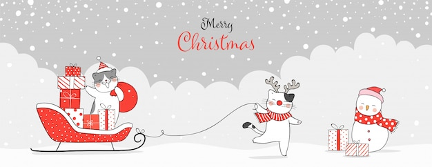 Draw banner cat with presents in santa sleigh for christmas. Premium Vector
