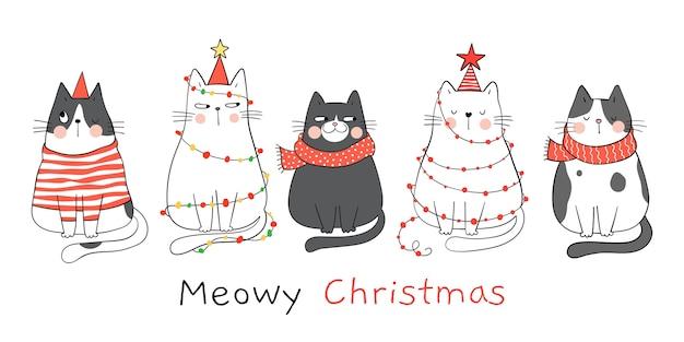 새해와 크리스마스 배너 고양이 그리기 프리미엄 벡터