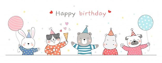 Нарисуйте баннер милый животных партии на белом на день рождения. Premium векторы