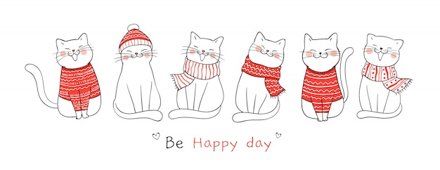 Draw banner cute cat for christmas day and new year. Premium Vector