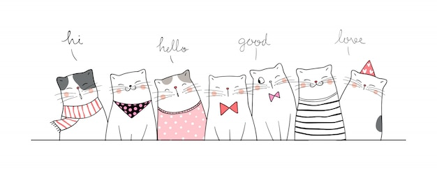 Draw banner cute cat say hi so funny. Premium Vector