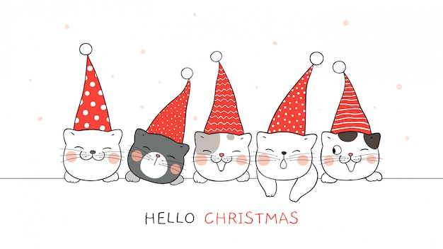 Draw banner of cute cat with elf hat for christmas. Premium Vector