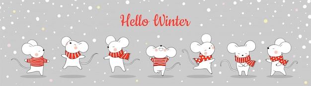 Draw banner cute rat in snow for christmas Premium Vector