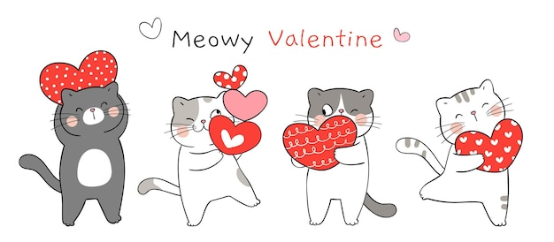 Draw banner funny cat with red heart for valentine day. Premium Vector