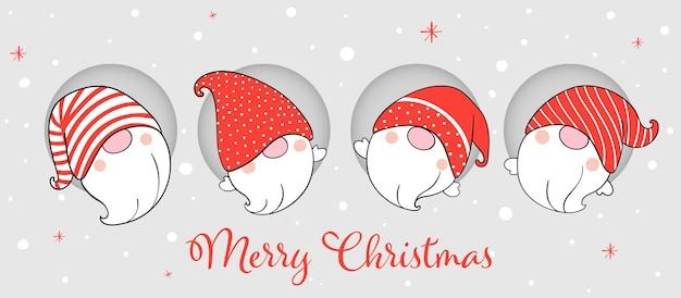 Нарисуйте знамя гномов для зимы и рождества. Premium векторы