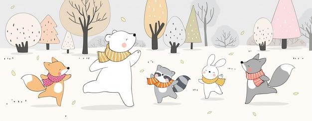 秋のシーズンに向けて、森でバナー幸せな動物を描きます。 Premiumベクター