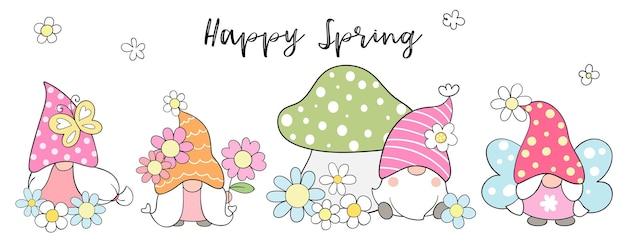 春の花でバナーの甘いノームを描きます。 Premiumベクター