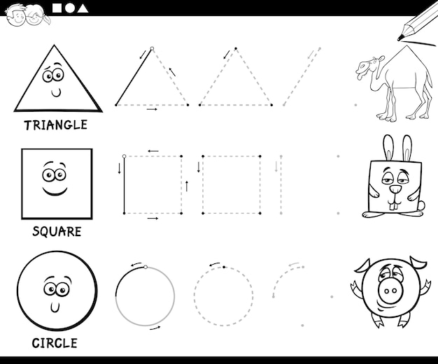 Draw basic geometric shapes coloring page Vector | Premium Download
