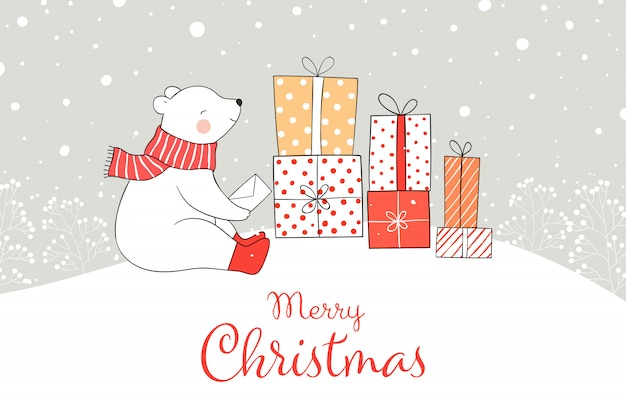Draw bear with gift box in snow for christmas and new year. Premium Vector