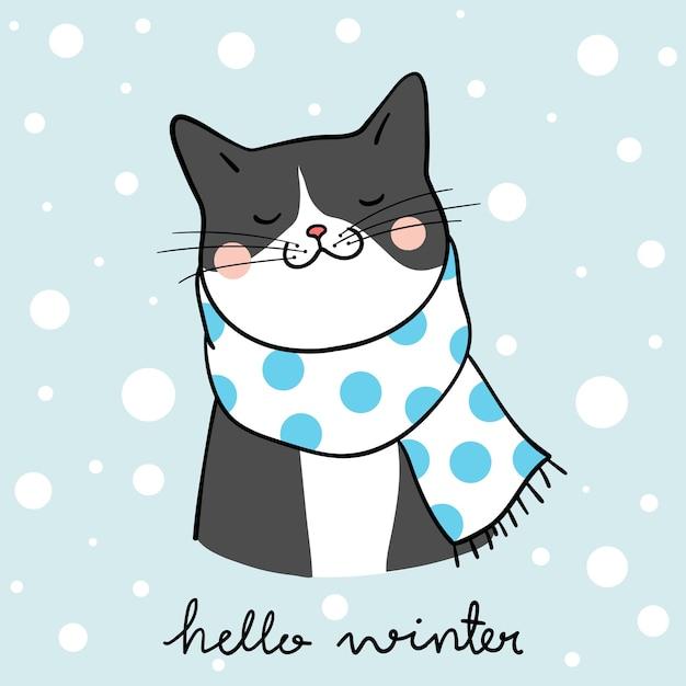 Draw black cat in winter season doodle cartoon style Premium Vector