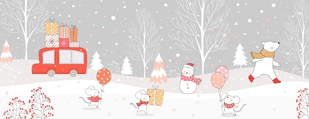 Draw car carry gift box and animal in snow for christmas and winter. Premium Vector