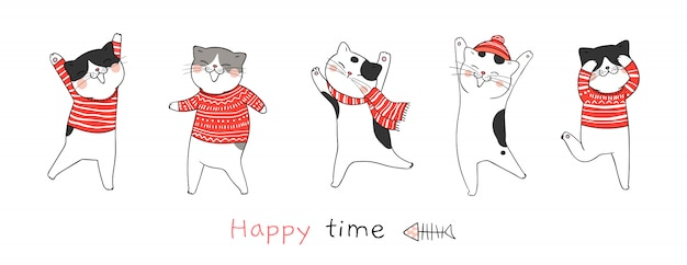 Draw cat dance for christmas day and new year. Premium Vector