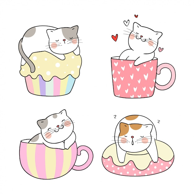 Draw cat different pose in cup of tea and cupcake. Premium Vector