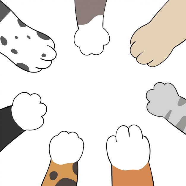 Draw cat and dog paws.doodle cartoon style. Premium Vector