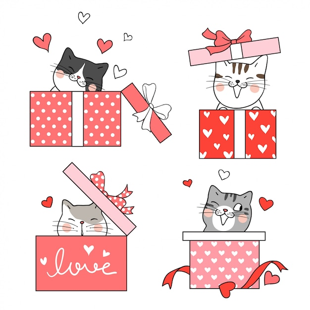 Draw Cat In Gift Box For Valentine S Day Vector Premium Download