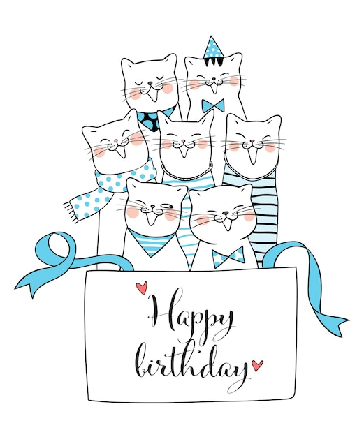 Draw Cat In Gift Box And Word Happy Birthday Doodle Style Vector
