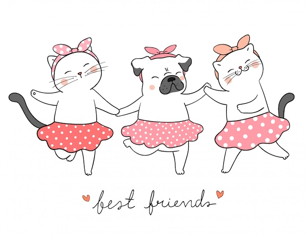 Draw Cat And Pug Dog Holding Hands Best Friends Concept