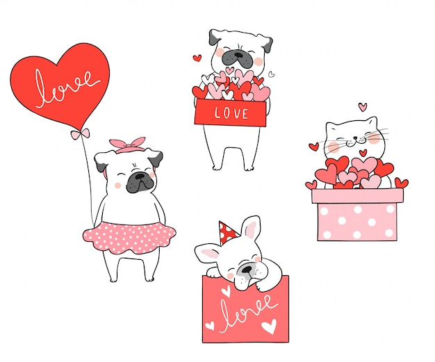 Draw cat and pug dog with little heart for valentine Premium Vector