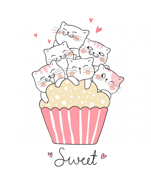 Draw cat with sweet cup cake doodle style. Premium Vector