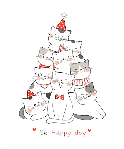 Draw cat with word be happy day  for christmas. Premium Vector