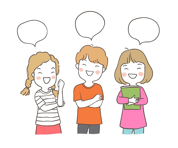 Draw character a boy and a girl with speech bubble Premium Vector