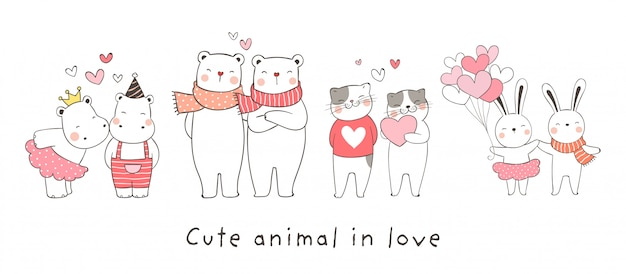 Draw collection animal in love Premium Vector