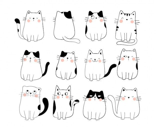 Draw collection funny cat doodle cartoon style. Premium Vector